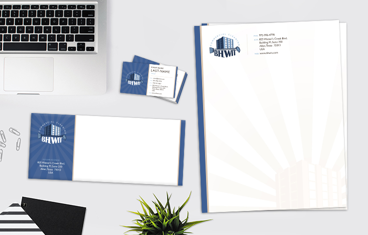 Graphic design for the business card, envelope, and letterhead for a cleaning company: BH Wit